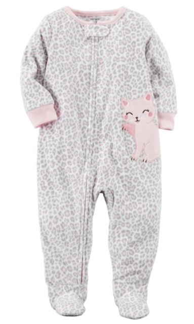 33aa392ea Carter s Little Girls Fleece One Piece Zip Footed Pajamas Grey Polka ...