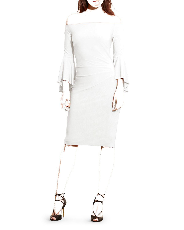 295 RALPH LAUREN Women WHITE OFF THE SHOULDER BELL SLEEVES PLEAT DRESS SIZE 8
