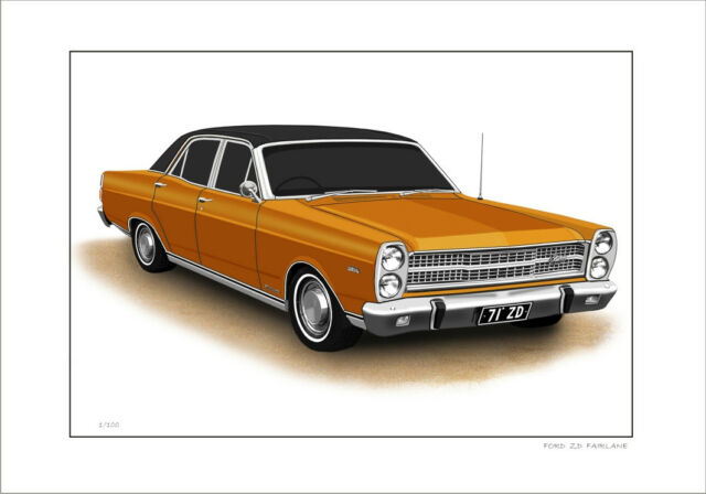 8 CAR  COLOURS FORD  71/'  ZD  FAIRLANE  500 LIMITED EDITION CAR DRAWING PRINT