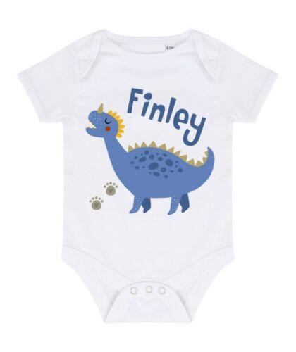 Babies Personalised Name Blue Dinosaur Bodysuit T-Shirts, Tops & Shirts Printed Customised Boys Gift
