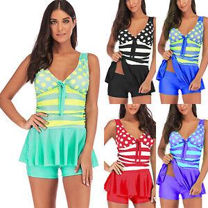 63696d924295e8 2pcs Ladies Polka Dot Swimdress Shorts Tankini Set Swimwear Swimsuit ...