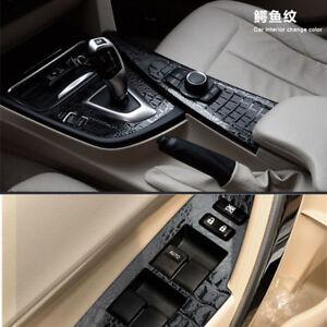 3D-Crocodile-Leather-Pattern-Car-Vinyl-Wrap-Sticker-Interior-Decal-Film-black