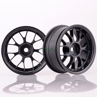 4PCS 1:10 RC Racing Car 26mm On Road 7Y spoke BLACK Plastic Wheel RimS R14B