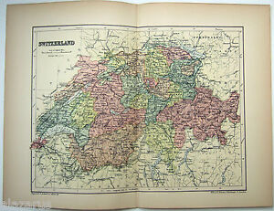 Original 1895 Map of Switzerland by W & A.K. Johnston