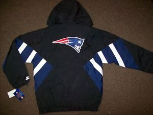 bc6c3631 Details about NEW ENGLAND PATIOTS Starter Hooded Half Zip Pullover Jacket S  M L XL 2X BLACK