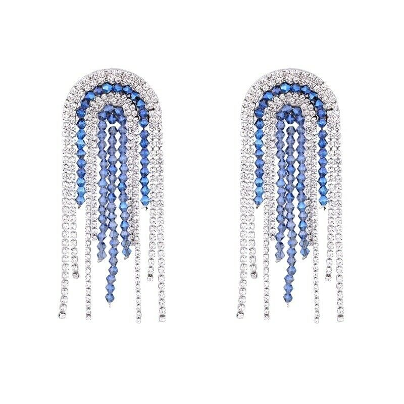 Exceptional 3.5  bluee Crystal Sparkling Ice Rhinestone Fringe Earrings