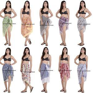38c3f17b104a5 Indian Cotton Sarong Long Block Print Scarf Wrap Beach Wear Long ...