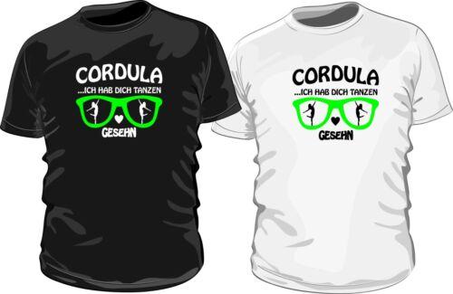 schwarz T-Shirt Cordula ich hab dich tanzen gesehn bedruckt mit Folie in grün