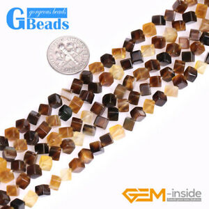 4mm Natural Brown Cube Stone Beads for Jewelry Making Strand