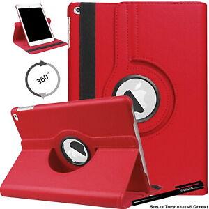 Housse Etui Rouge pour Apple iPad 10.2 2020 Coque avec Support Rotatif 360°