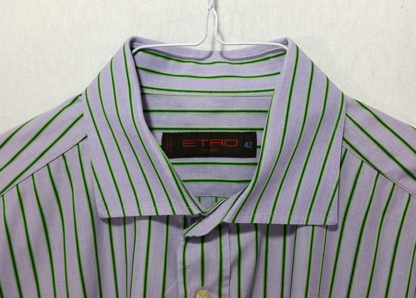 ETRO Milano Men's Made in  Long Sleeve Dress Shirt Size 42  2 US