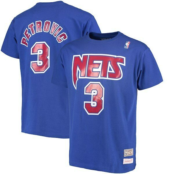 Men's Brand New Mitchell and Ness Nets Athletic Fashion T-Shirt [BA013654041]