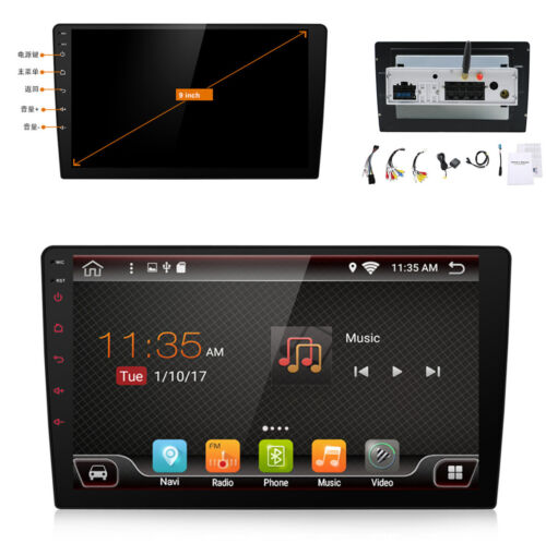 """Car 1 Din 9/"""" Touch Screen Bluetooth GPS FM Wifi Car Stereo Video Player Android"""