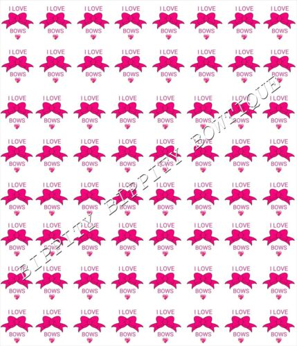 "GORGEOUS /""I LOVE BOWS/"" PRINTED FABRIC SHEET..HAIR BOWS CRAFTS E.T.C"