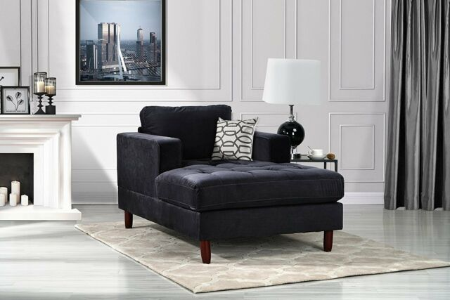 Prime Mid Century Modern Velvet Fabric Living Room Chaise Lounge Black Inzonedesignstudio Interior Chair Design Inzonedesignstudiocom