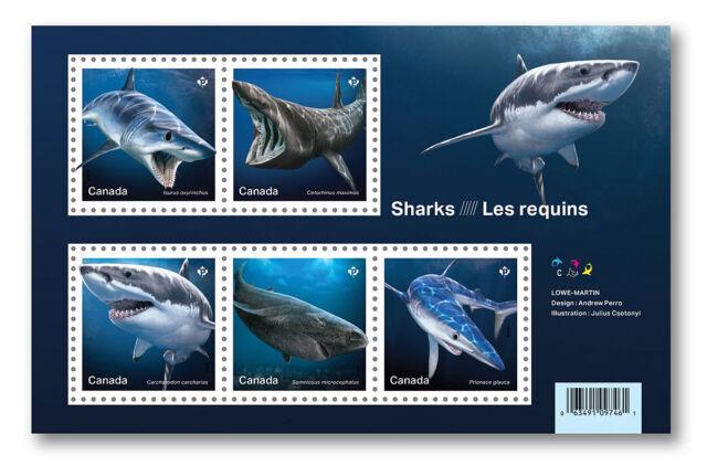 2018 Canada Sharks Souvenir Sheet Of 5 Stamps Science Marine Predator Jaws Fish