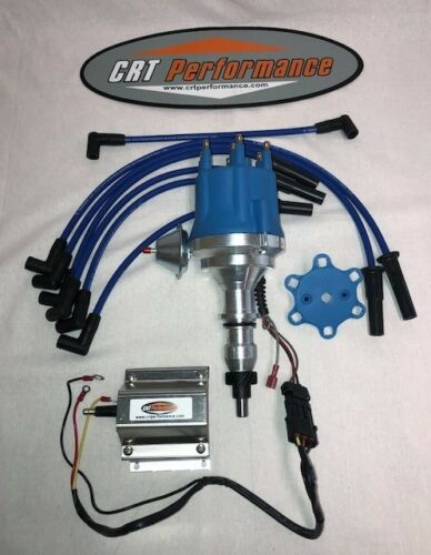 FORD 300 WIRES 45K CHROME COIL 240 I6 4.9L Small Cap BLUE HEI DISTRIBUTOR