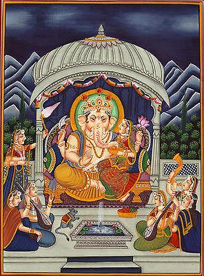 Shakti Vinayak Ganesh Painting Handmade Indian Hindu God Religious Miniature Art