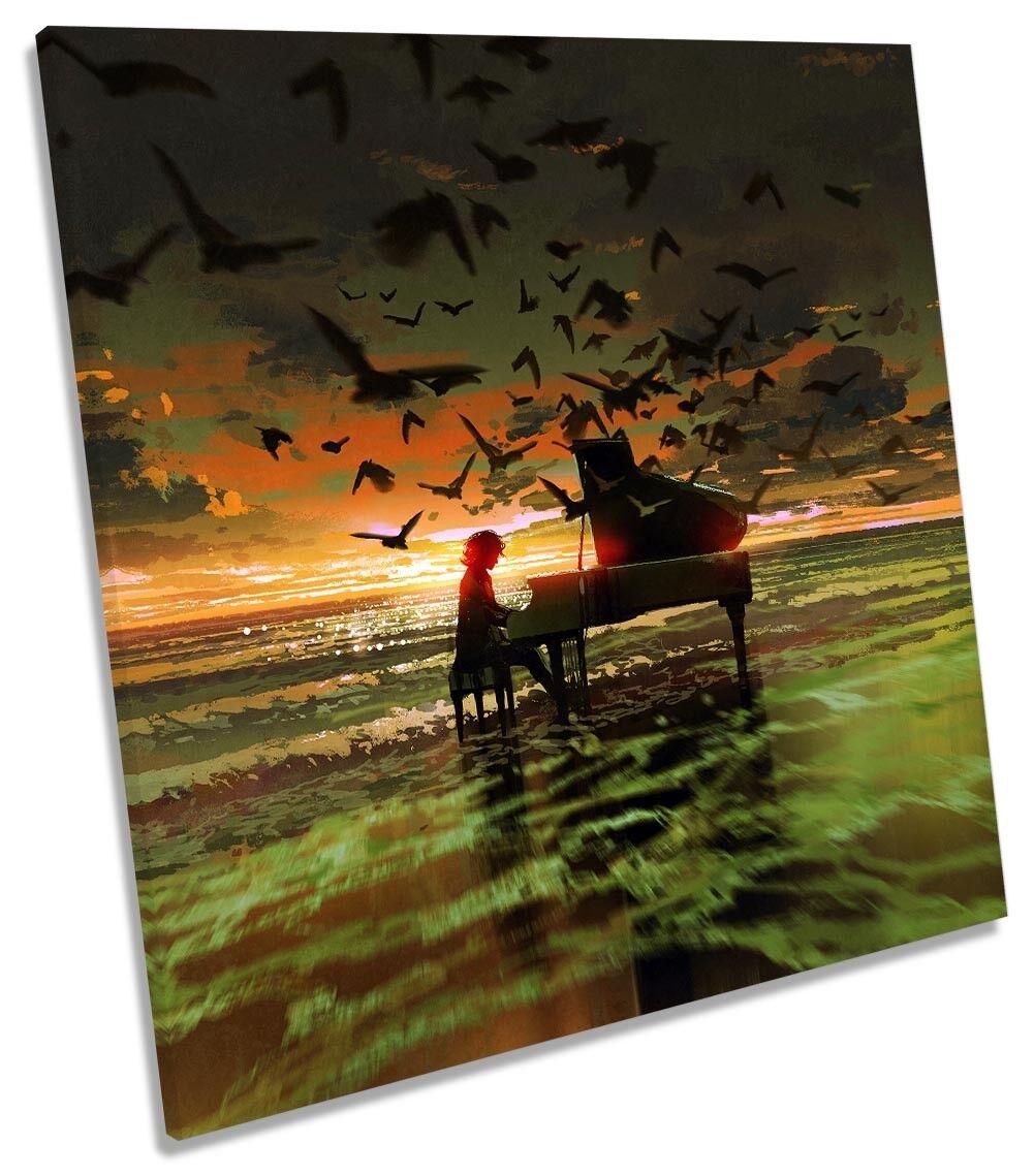 Music Piano Birds Sunset Beach Framed CANVAS PRINT Square Wall Art