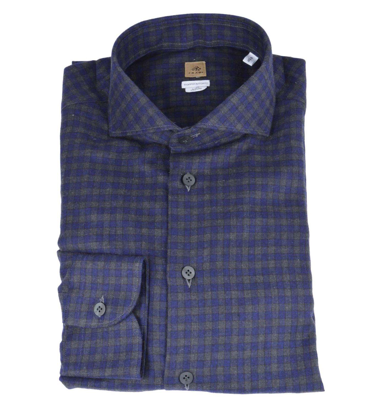 FRADI uomo camicia camicia camicia quadri blu grigio flanella slim CN6333 0551 fb7c41
