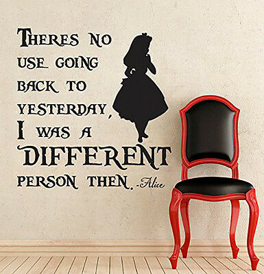 Alice in wonderland teacup with wine advice quote vinyl wall art decal transfer