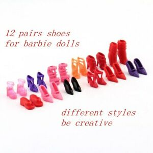 Set-of-12-Pairs-Fashion-Dolls-Shoes-High-Heels-Sandals-Slippers-For-11-5in-Doll