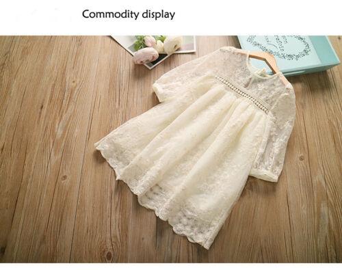 Autumn Girls Dress Long Sleeve Lace Mesh Princess Flower Girl Dress White