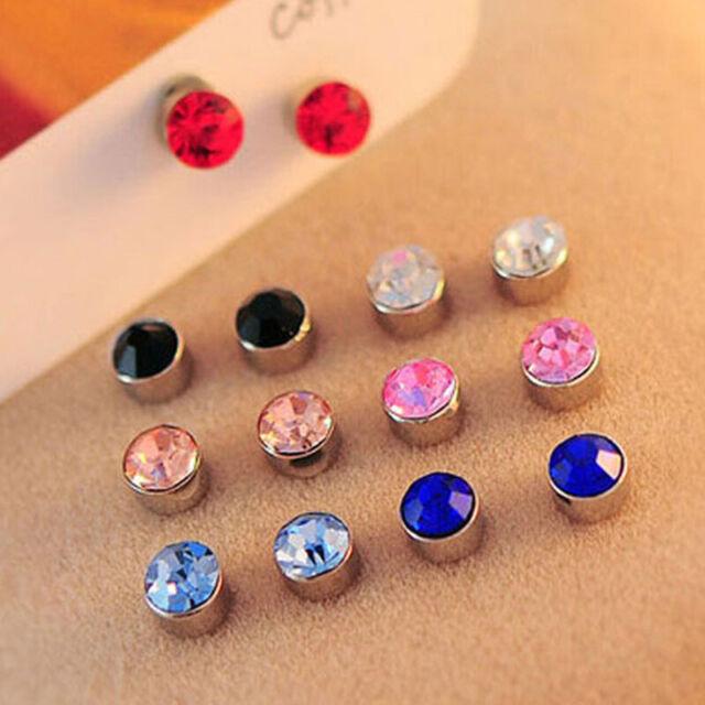 Unisex Crystal Magnetic Ear Stud Earrings Non Piercing Clip on Magnet Men Women