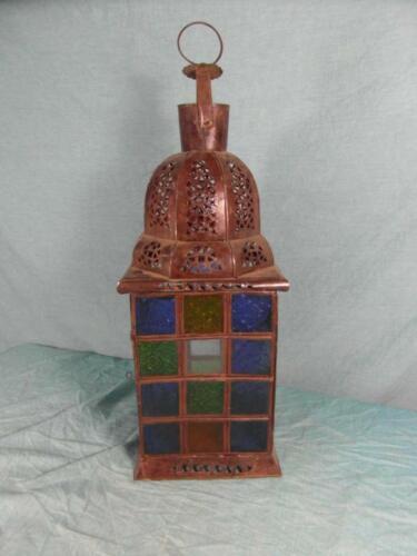 Lampe Laterne Antik Stil Windlicht Blech Verziert Marrakesch Motivglas Rar 7a4