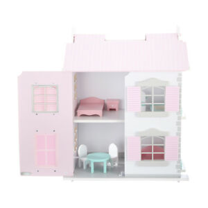 WOODEN COTTAGE DOLLHOUSE MINIATURE KIT DOLLS HOUSE W/ FURNITURE KIDS TOY PLAY
