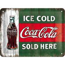 Coca Cola Ice Cold Sold Here Retro Bottle Classic Small 3D Metal Embossed Sign
