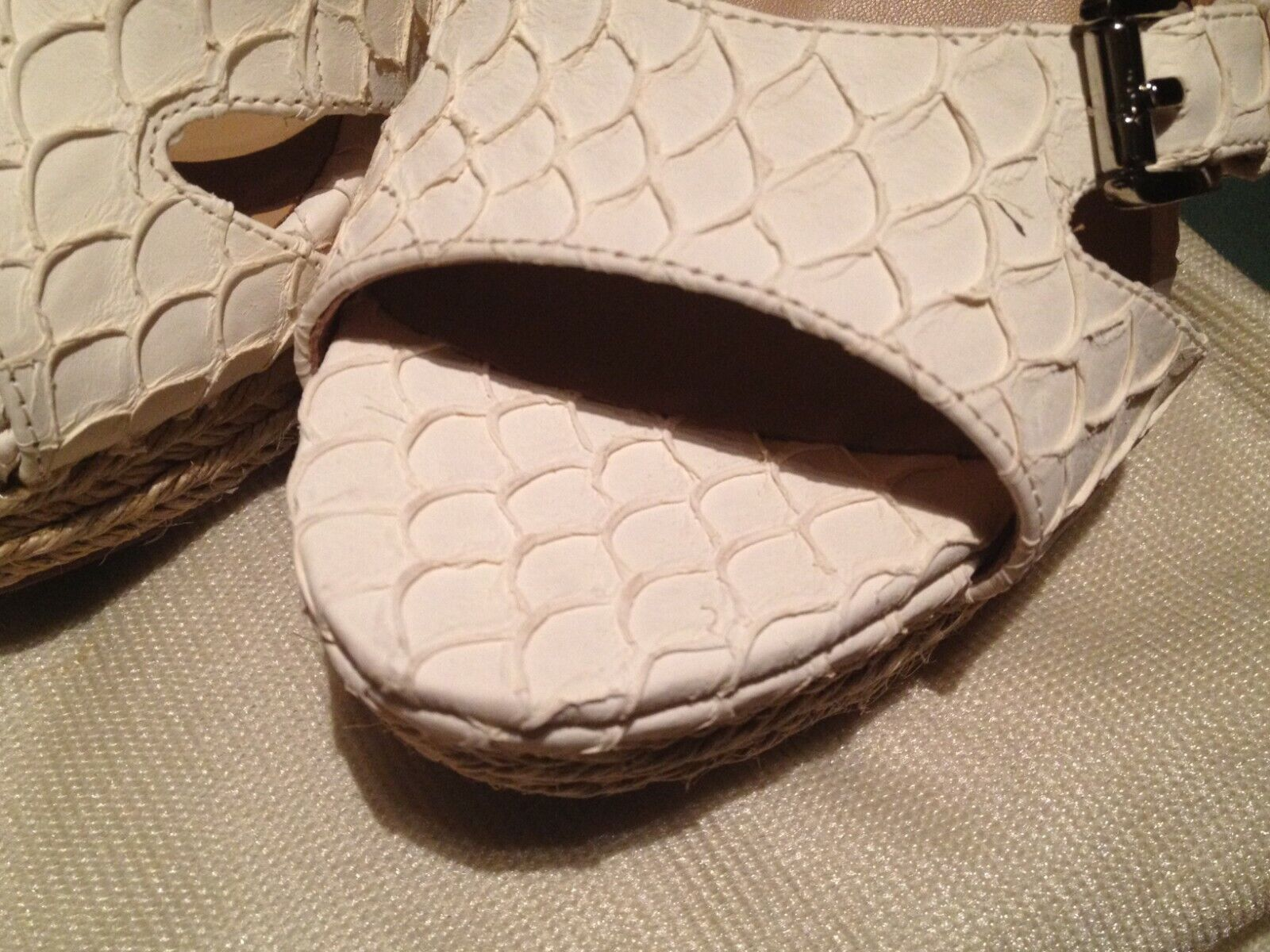 NIB NIB NIB Lisa Donald Pliner 'White Rock' Leather Cork Wedge Sandals Size 9.5M 032433