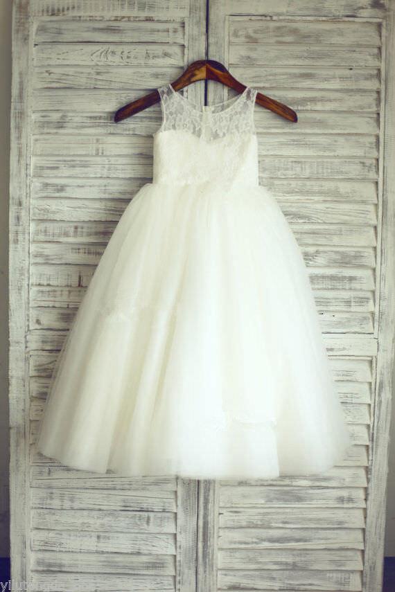 TUTU Lace Tulle Ivory Flower Girl Dress Wedding Easter Junior Girl Dress Baby