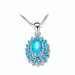 Blue-Fire-Opal-Ocean-Blue-Topaz-Gems-925-Sterling-Silver-Plated-Necklace-Pendant