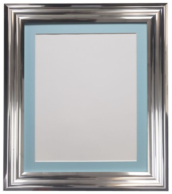 Firenza Bright Silver Picture Photo Frame With Coloured Mounts Blue