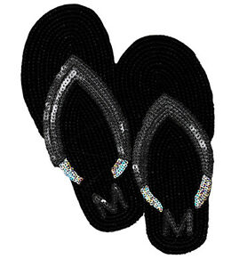 d5f7c7f108fd8 XXL Extra Large Cool Sequins Beach Flip Flop Patch 25cm Iron On ...
