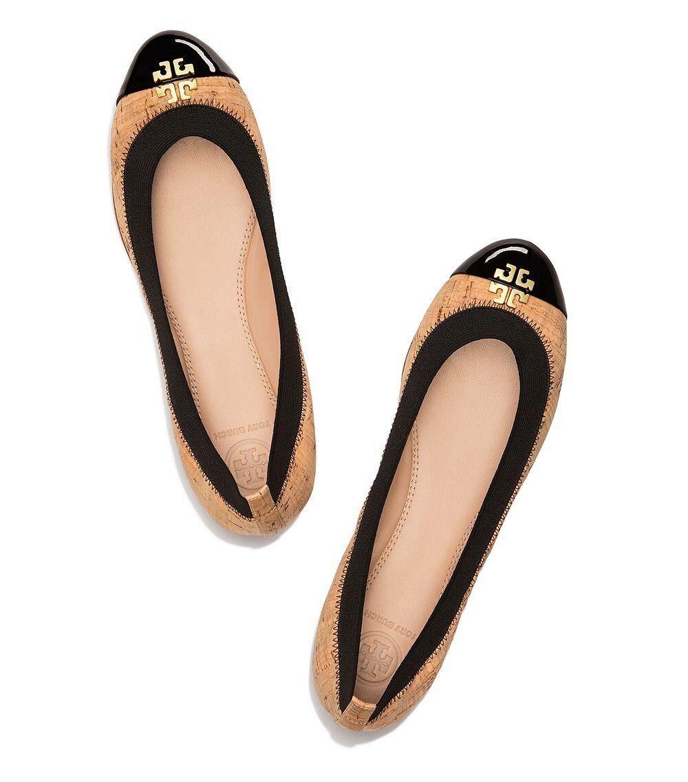 EUC  Tory Burch Women's Jolie Black Cork Ballet Patent Flat Sz 8