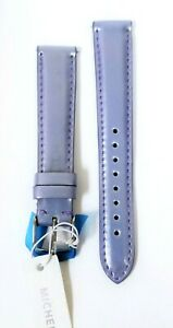 NEW MICHELE 16MM PATENT PASTEL PURPLE LEATHER BAND,SILVER BUCKLE MS16AA050532