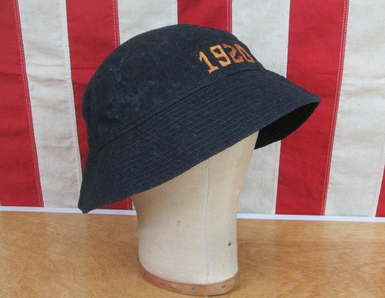 Vintage 1920s Black Wool Twill Varsity Bucket Hat Cap Salt&Pepper Antique 22.5