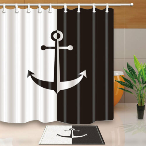 Black and white anchor Shower Curtain Bathroom Waterproof Fabric /& 12Hooks new