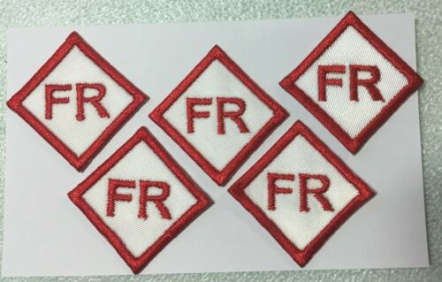 """5 FR Patches Tags 1.25/"""" Fire Resistant Retardant FRC White Red Replacement Patch"""