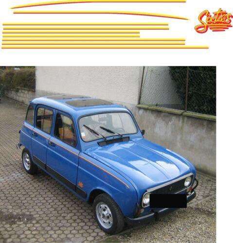 Jeu de 3 logos pour Renault 4L Sixties bleue