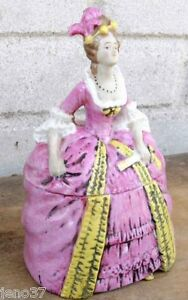 Beautiful Antique Figural Lady Porcelain Covered Powder or Trinket Box