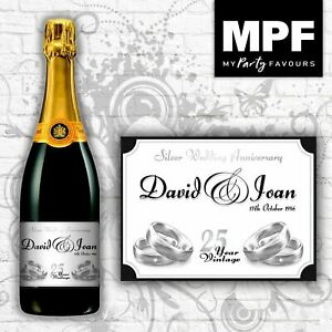 Personalised 25th Wedding Anniversary Champagne/Prosecco Bottle Label (Silver)