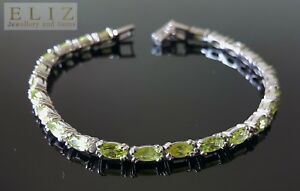 Sterling-Silver-Genuine-Precious-Peridot-Bracelet-Marquise-Gems-7-5-inches