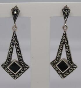 Stunning-Deco-Style-Sterling-Silver-Onyx-amp-Marcasite-Earrings-3-9-Grams