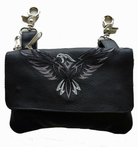 Genuine Leather Belt Bag Hip Purse Embroidered Eagle Gray Silver Biker Riding