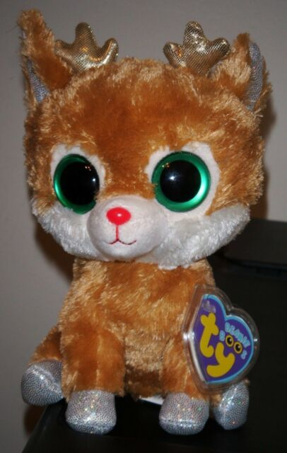 1d7eed6fd81 Ty Beanie Boos Alpine Reindeer Plush Gold Antlers 2012 Purple Tag RARE  Retired