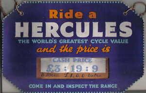 HERCULES-Bicycle-Sign-original-blue-octagonal-advertising-card-price-3-19-9