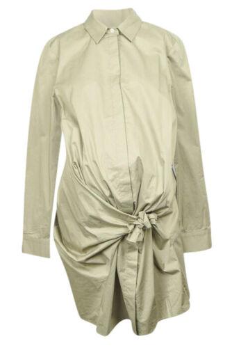 Hatch Maternity Morgan pistachio green L 3 tie knot pleated shirt dress NEW $258